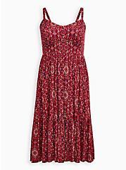 Red Medallion Super Soft Tiered Midi Skater Dress , MULTI MEDALLION, hi-res