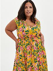 Yellow Floral Off Shoulder Side Slit Maxi Dress , FLORAL - YELLOW, alternate