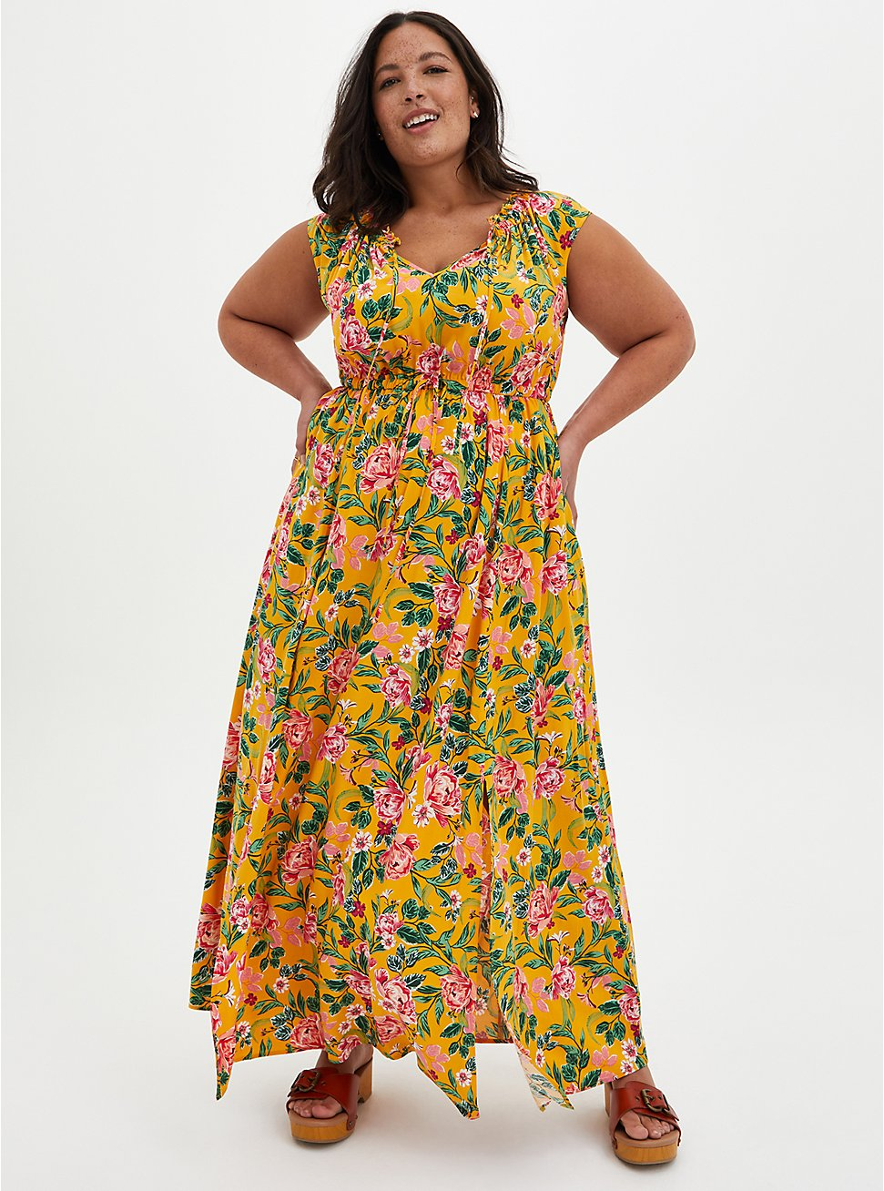 Yellow Floral Off Shoulder Side Slit Maxi Dress , FLORAL - YELLOW, hi-res