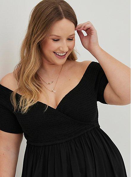 Black Surplice Smocked Off-Shoulder Skater Dress, DEEP BLACK, alternate