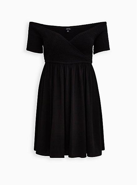 Black Surplice Smocked Off-Shoulder Skater Dress, DEEP BLACK, hi-res