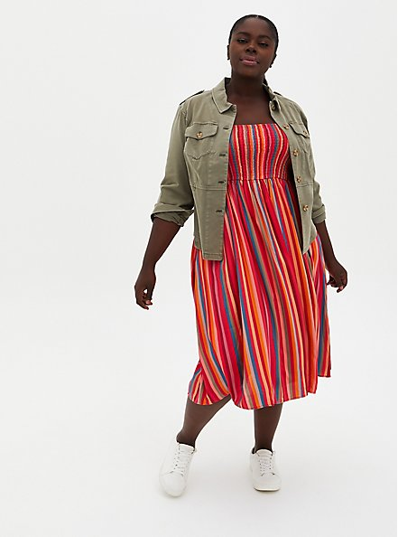 Pink Stripe Challis Smocked Tiered Midi Dress, STRIPE-PINK, alternate