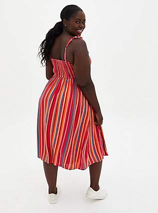 Stripe Black Band Burgundy Floral Midi Dress/_Plus