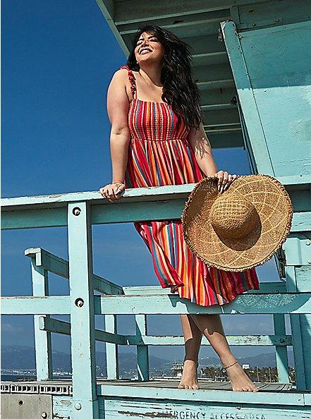 Pink Stripe Challis Smocked Tiered Midi Dress, STRIPE-PINK, hi-res