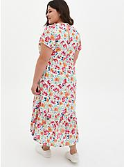 Ivory Floral Gauze Button Front Tea-Length Dress , FLORAL - WHITE, alternate