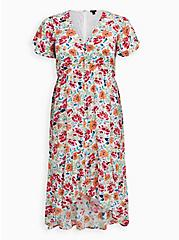 Ivory Floral Gauze Button Front Tea-Length Dress , FLORAL - WHITE, hi-res