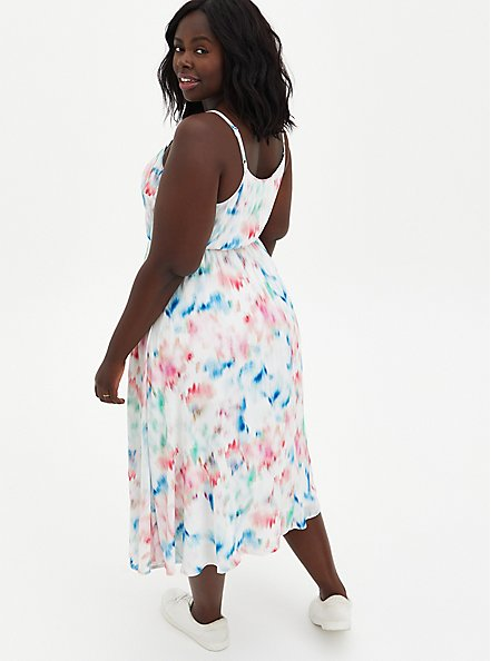 Ivory Abstract Pleated Gauze Midi Dress , ABSTRACT FLORAL, alternate