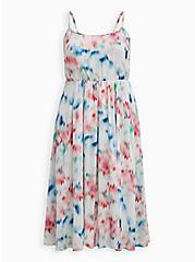 Ivory Abstract Pleated Gauze Midi Dress , ABSTRACT FLORAL, hi-res