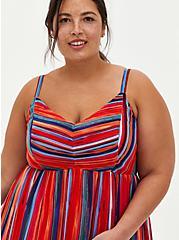 Multicolor Stripe Pleated Chiffon Maxi Dress , STRIPE - MULTI, alternate