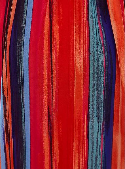 Plus Size Multicolor Stripe Pleated Chiffon Maxi Dress , STRIPE - MULTI, alternate