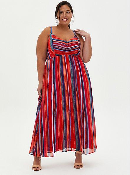 Plus Size Multicolor Stripe Pleated Chiffon Maxi Dress , STRIPE - MULTI, hi-res