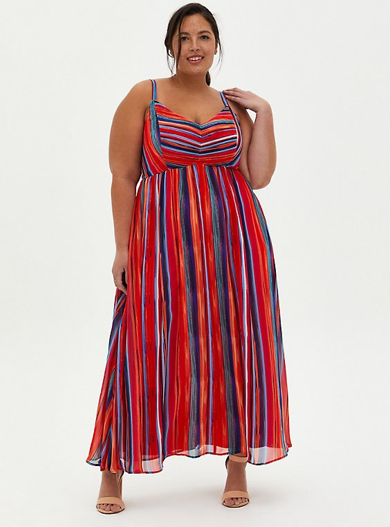Multicolor Stripe Pleated Chiffon Maxi Dress , STRIPE - MULTI, hi-res