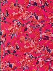 Pink Floral Pleated Chiffon Skater Midi Dress , FLORAL - PINK, alternate