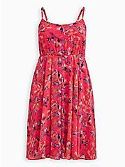Pink Floral Pleated Chiffon Skater Midi Dress , FLORAL - PINK, hi-res