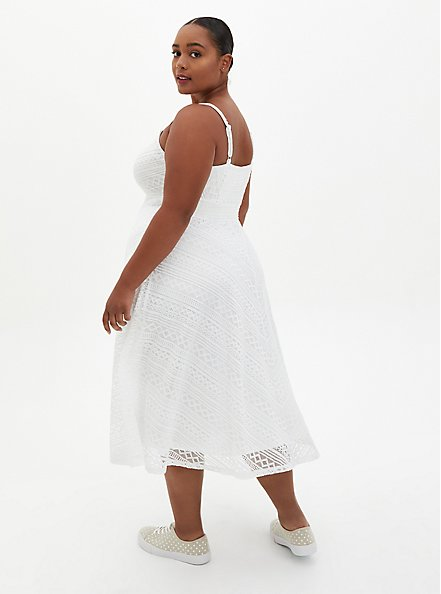 White Lace Handkerchief Skater Midi Dress , BRIGHT WHITE, alternate