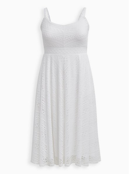 White Lace Handkerchief Skater Midi Dress , BRIGHT WHITE, hi-res