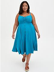 Teal Woven Button Front Midi Dress , TEAL, hi-res