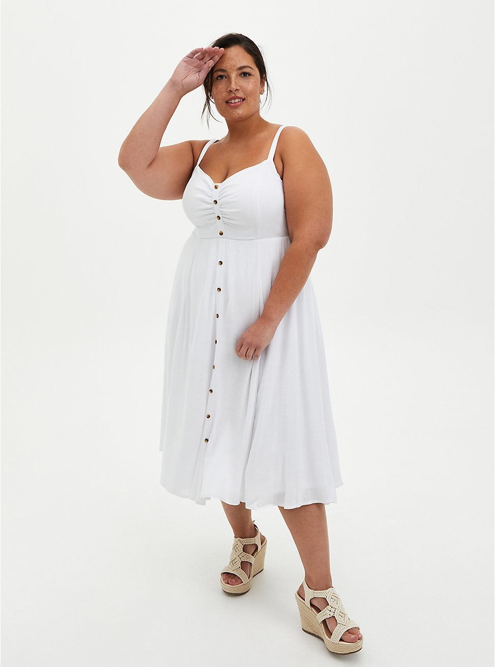 White Woven Button Front Midi Dress , CLOUD DANCER, hi-res