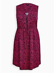 Pink Herringbone Challis Zip-Front Shirtdress , CHEVRON PRINT, hi-res