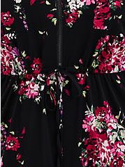 Black Floral Challis Zip-Front Shirtdress , FLORAL - BLACK, alternate