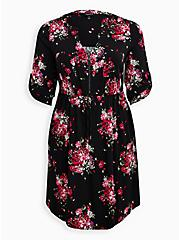 Black Floral Challis Zip-Front Shirtdress , FLORAL - BLACK, hi-res