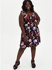 Black Floral Studio Knit Skater Mini Dress , FLORAL - BLACK, alternate