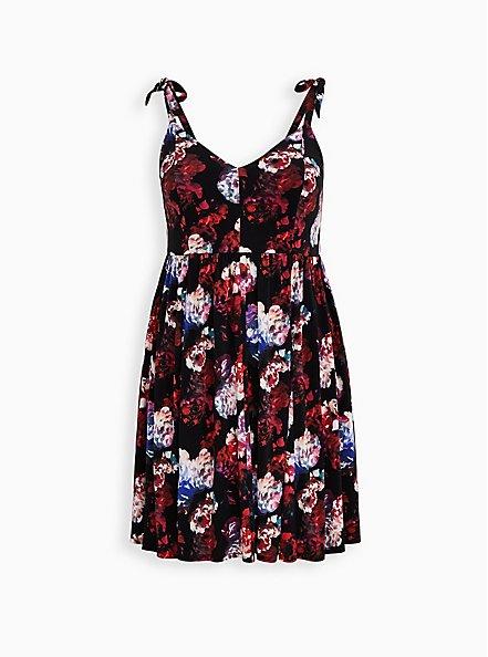 Black Floral Studio Knit Skater Mini Dress , FLORAL - BLACK, hi-res