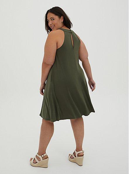 Olive Cupro Trapeze Mini Dress , DEEP DEPTHS, alternate