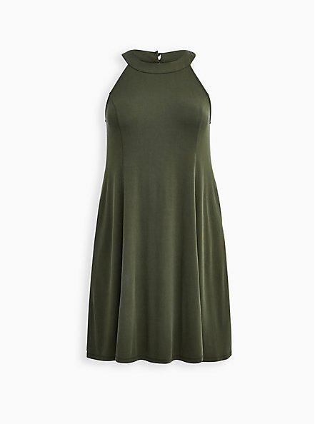 Olive Cupro Trapeze Mini Dress , DEEP DEPTHS, hi-res
