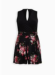 Black Floral Studio Knit Surplice Romper, FLORAL - BLACK, hi-res