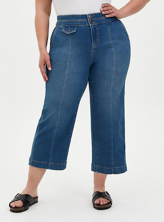 Crop High Rise Wide Leg Jean - Super Soft Medium Wash, DISCO FEVER, hi-res