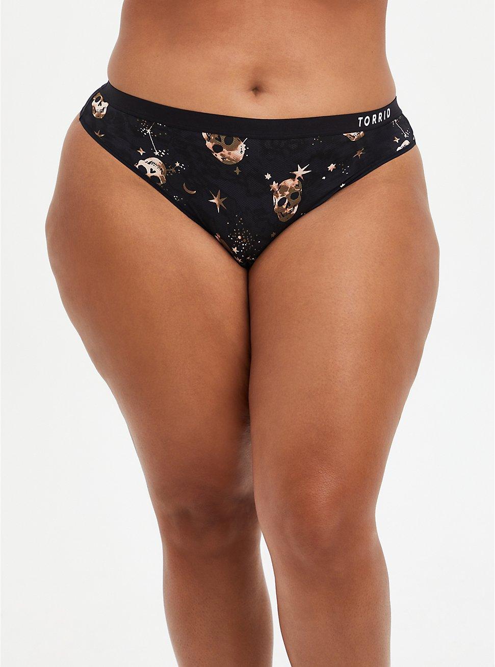 Active Thong Panty - Microfiber Skulls Black, STARRY SKULL, hi-res