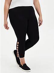 Crop Premium Leggings - O-Ring Side Detail Black, BLACK, alternate