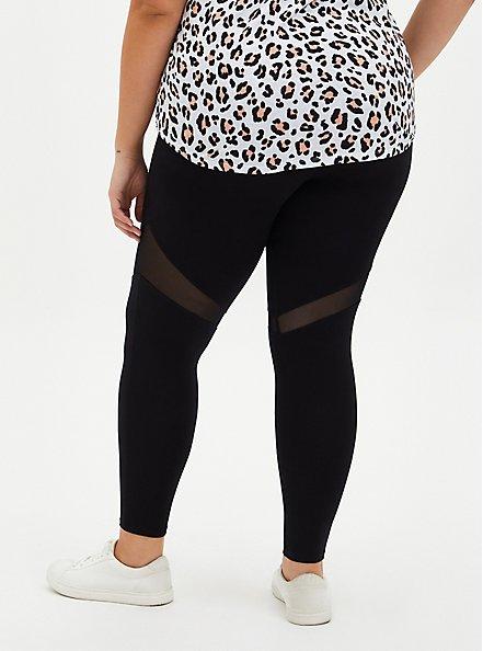 Premium Leggings - Mesh Thigh Inset Black , BLACK, alternate