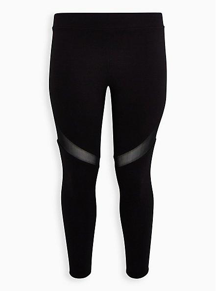 Premium Leggings - Mesh Thigh Inset Black , BLACK, hi-res
