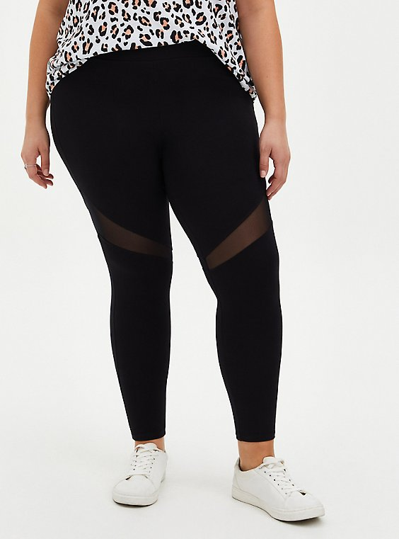 Premium Leggings - Mesh Thigh Inset Black , BLACK, hi-res