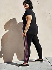 Premium Leggings - Multicolor Side Stripe Black , BLACK, alternate