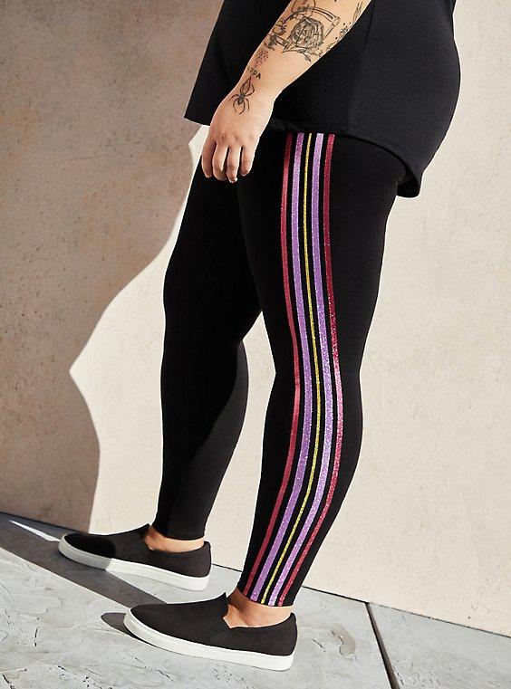 Premium Leggings - Multicolor Side Stripe Black , , hi-res