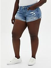 Mid Rise Shortie Short - Vintage Stretch Eco Light Wash, , fitModel1-hires