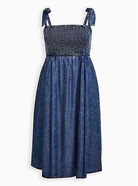 Chambray Wash Smocked Midi Dress , CHAMBRAY, hi-res
