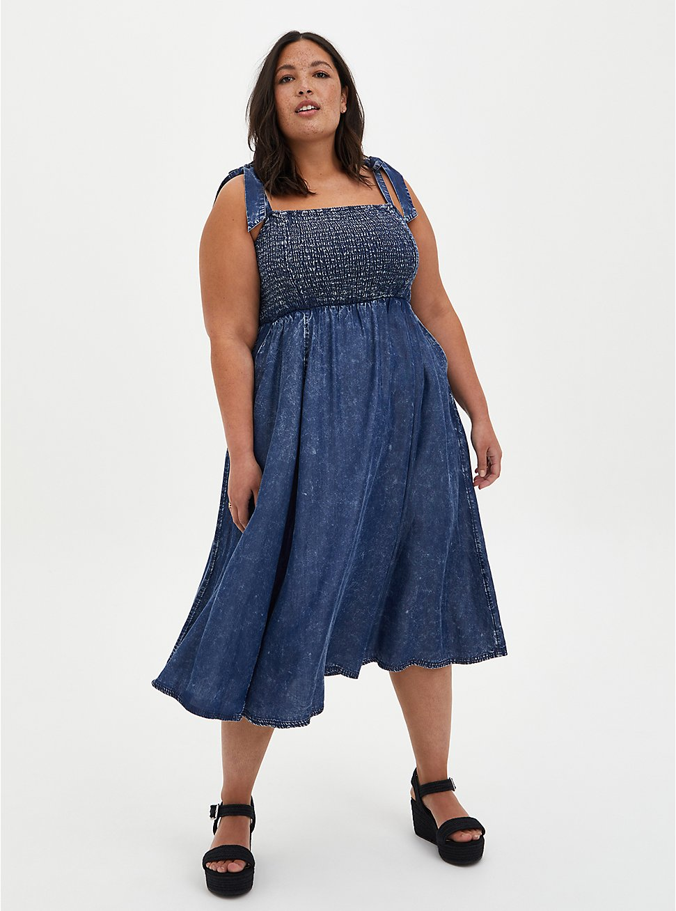 Chambray Wash Smocked Midi Dress , CHAMBRAY, hi-res