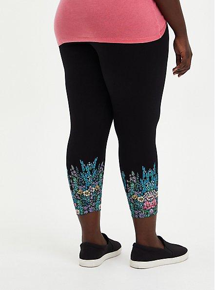Plus Size Crop Premium Leggings - Floral Leg Placement Black , BLACK, alternate