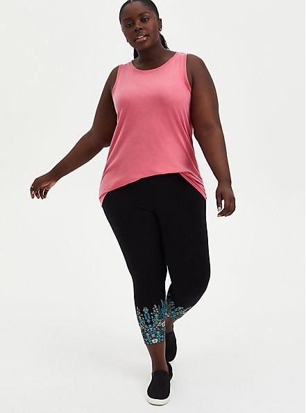 Plus Size Crop Premium Leggings - Floral Leg Placement Black , BLACK, hi-res