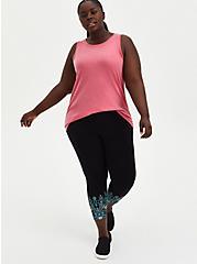 Crop Premium Leggings - Floral Leg Placement Black , BLACK, hi-res