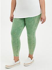Crop Premium Leggings - Mineral Wash Green, GREEN, alternate