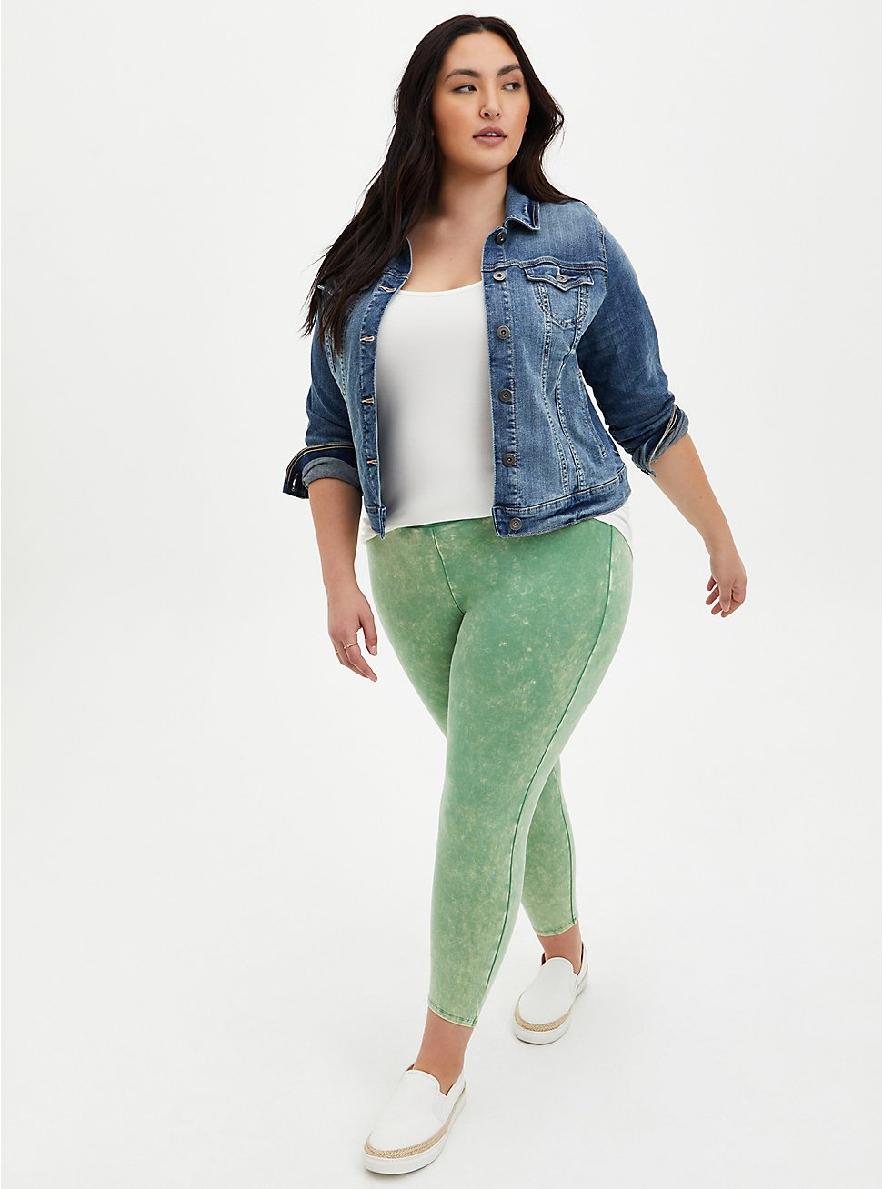 Crop Premium Leggings - Mineral Wash Green, GREEN, hi-res