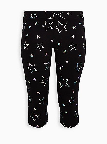 Plus Size Pedal Pusher Premium Legging - Rainbow Star Foil Black , MULTI, hi-res