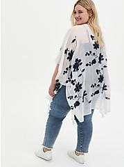Ivory Floral Embroidered Ruana, , alternate