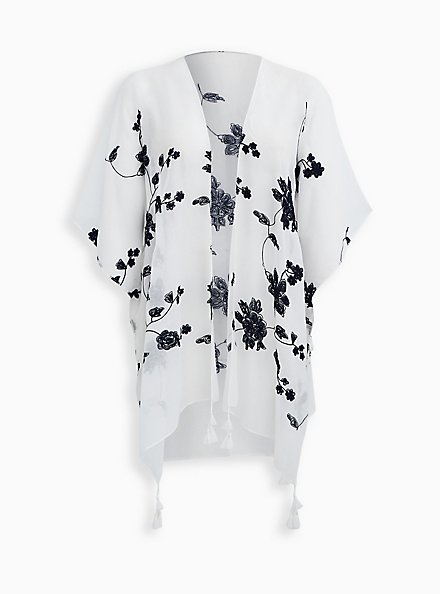 Ivory Floral Embroidered Ruana, , hi-res