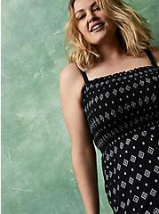 Super Soft Black Border Print Smocked Culotte Jumpsuit, BORDERS - BLACK, alternate